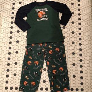 GYMBOREE Football Pajamas Set Boy's S (5-6)